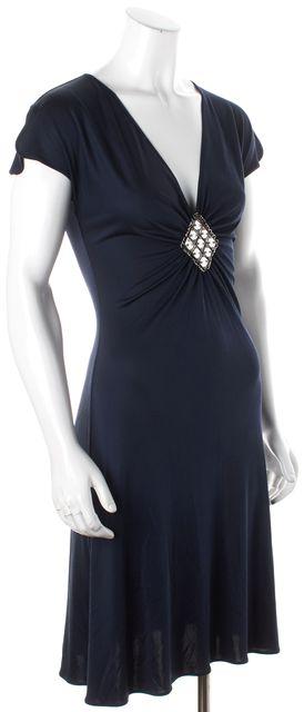 EMILIO PUCCI Navy Blue Cap Sleeve Silk Stretch Sheath Dress