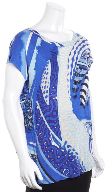 EMILIO PUCCI Multi Blue White Black Ivory Abstract Knit Top