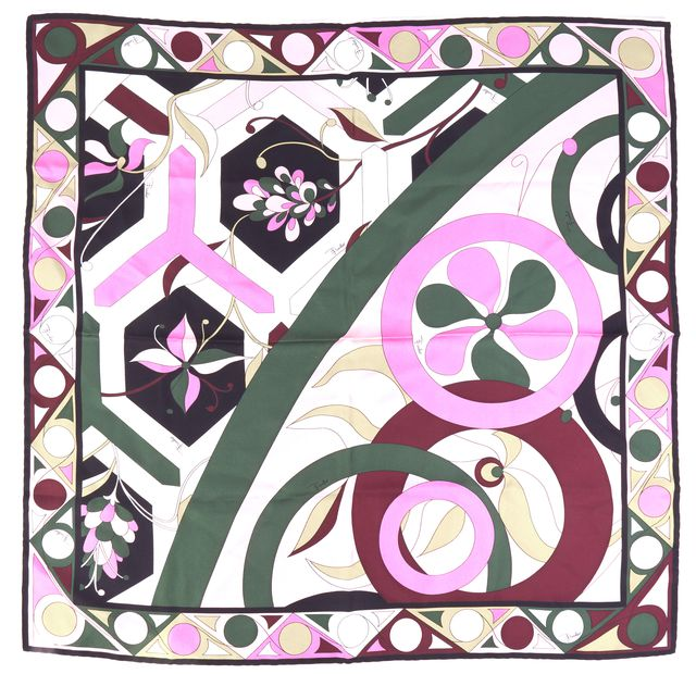 EMILIO PUCCI Multi-color Abstract Silk Print Square Scarf