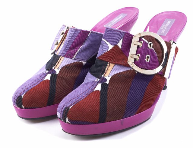 EMILIO PUCCI Violet Multi-Color Geometric Buckle Mules Size 9.5 IT 39.5