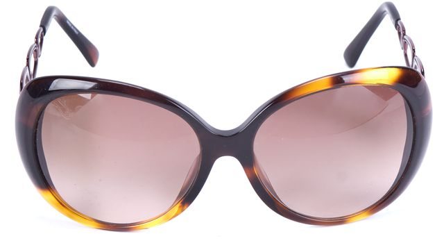 EMILIO PUCCI Tortoise Multi-Color Round Link Temple Sunglasses