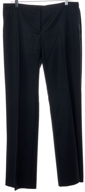EMPORIO ARMANI Navy Blue Pinstriped Pleated Trouser Dress Pants