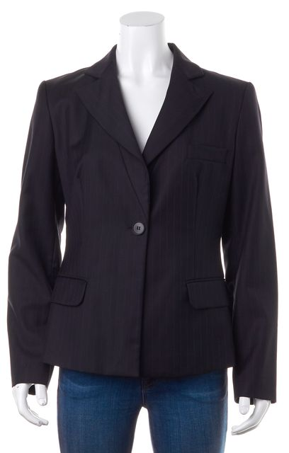 EMPORIO ARMANI Blue Pin Stripe Wool Blazer