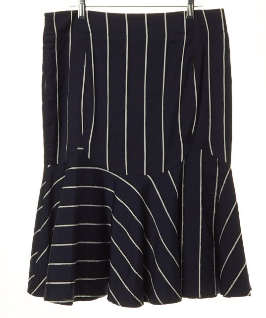 EMPORIO ARMANI Navy Blue White Striped Knee-Length Trumpet Skirt