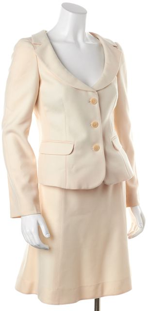 EMPORIO ARMANI Ivory Wool Ruffle Flare Classic Skirt Suit Set