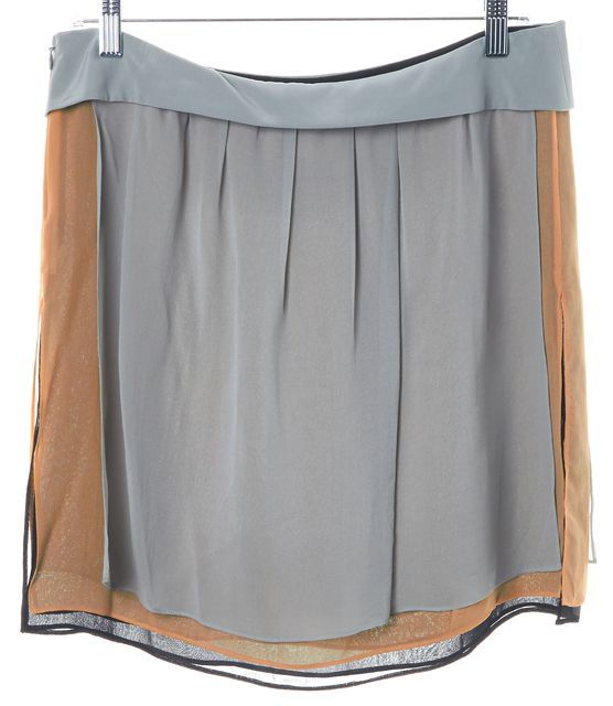 EMPORIO ARMANI Gray Beige Black Chiffon Layered Mini Skirt