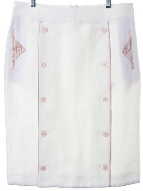 EMPORIO ARMANI White Pink Linen Cotton Button Trim Pencil Skirt