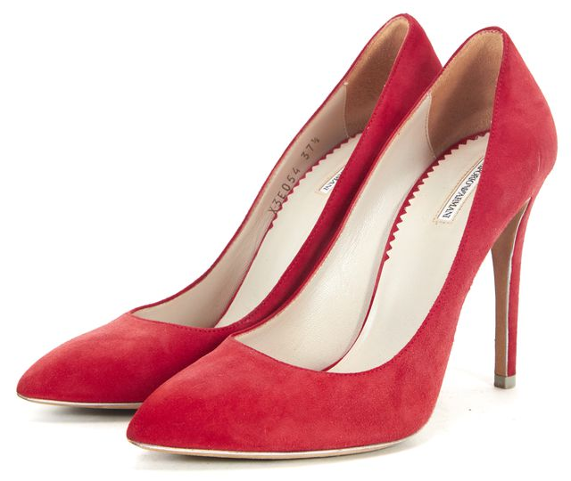 EMPORIO ARMANI Red Suede Pointed Toe Pump Heels