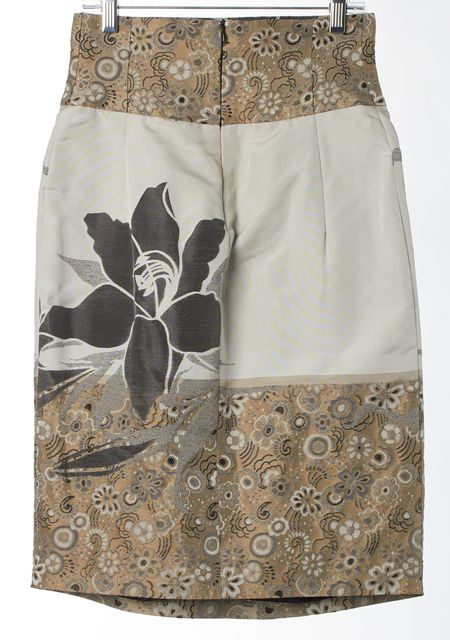 EMPORIO ARMANI Gray Floral Embroidered Pleated A-Line Skirt