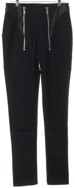 EMPORIO ARMANI Black Super Skinny Faux Leather Zipper Trim Trousers Pants