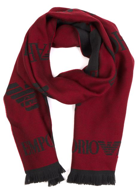 EMPORIO ARMANI Gray Oxblood Red Logo Wool Knit Scarf