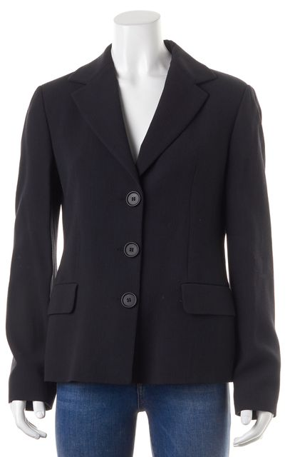 EMPORIO ARMANI Black Striped Wool Button Front Blazer