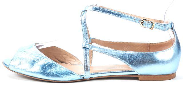 EMPORIO ARMANI Metallic Turquoise Leather Flat Sandals