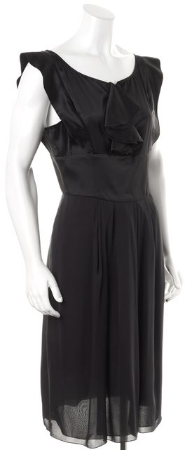 EMPORIO ARMANI Black Silk Satin Ruffle Front Pleated Sheath Dress