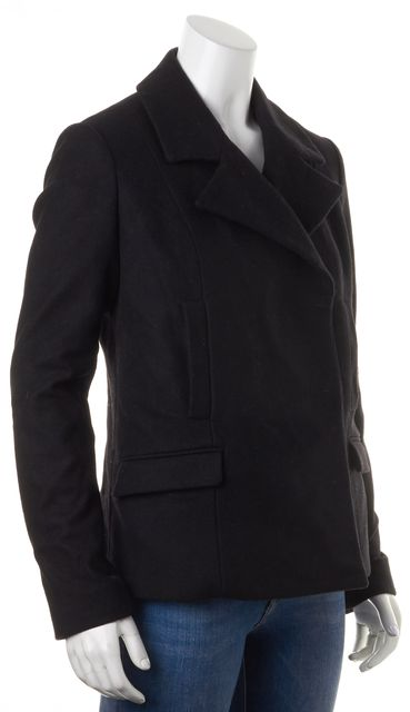 EMPORIO ARMANI Black Solid Hidden Button Peacoat