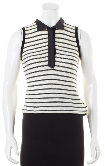 EMPORIO ARMANI White Black Striped Sleeveless Collared Knit Polo Top