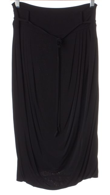 EMPORIO ARMANI Black Draped Jersey Waist Tie Pleated Pencil Skirt