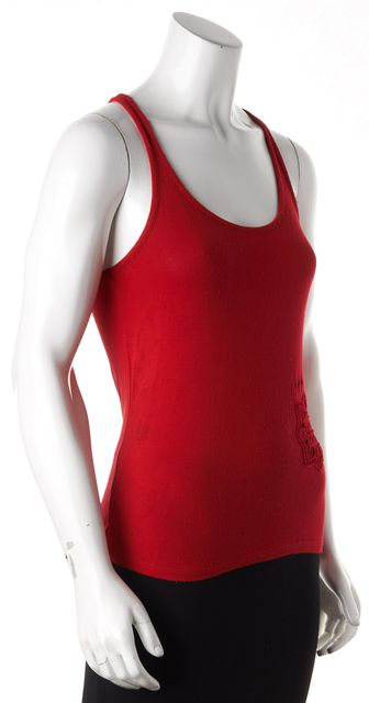 EMPORIO ARMANI Red Embroidered Silk Embellished Tank Top