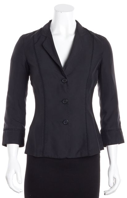 EMPORIO ARMANI Black Lon Sleeve 3 Button Silk Perforated Trimmed Blazer