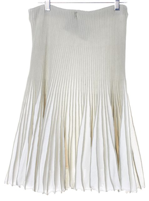 EMPORIO ARMANI Green White Elasticized Cable Knit Striped Pleated Skirt