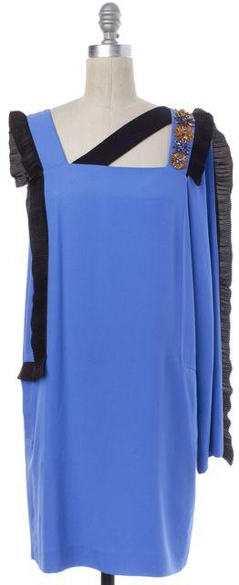 EMANUEL UNGARO Blue Black Jewel Flower One Sleeve Shift Dress