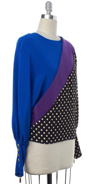 EMANUEL UNGARO Black Purple Polka Dot Silk Blouse