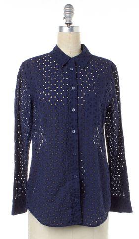 EQUIPMENT Navy Blue Peep Hole Button Down Shirt Top
