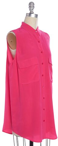 EQUIPMENT Pink Silk Sleeveless Tunic Button Down Shirt Top Size S