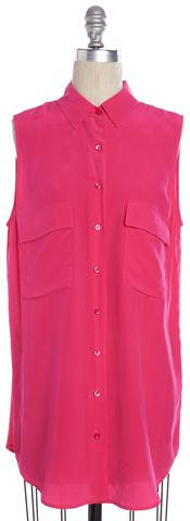 EQUIPMENT Pink Silk Sleeveless Tunic Button Down Shirt Top Size S
