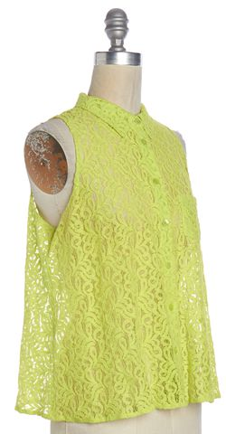 EQUIPMENT Green Lace Sleeveless Button Down Shirt Top Size S