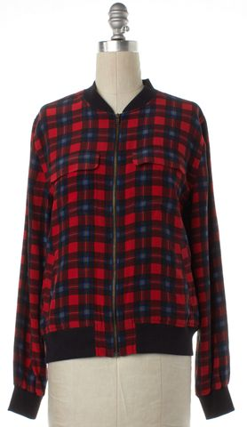 EQUIPMENT Red Multi Color Plaid Silk Zip Up Jacket