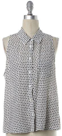 EQUIPMENT White Star Print Silk Sleeveless Button Down Shirt Top