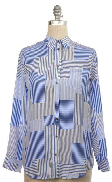 EQUIPMENT Blue White Black Silk Striped Button Down Shirt