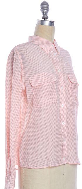 EQUIPMENT Pink White Geometric Dot Printed Silk Button Down Shirt Top