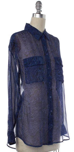 EQUIPMENT Navy Blue Sheer Snakeskin Print Silk Button Down Shirt