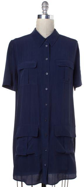 EQUIPMENT Blue Washed Silk Button Down Short Sleeve Shift Dress