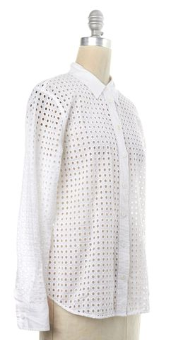 EQUIPMENT White Cotton Eyelet Button Down Shirt