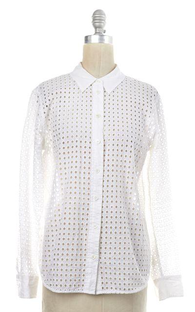 EQUIPMENT White Cotton Eyelet Button Down Shirt