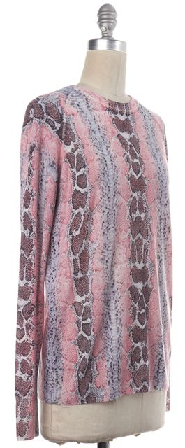 EQUIPMENT Pink Gray Snakeskin Print Wool Cashmere Knit Top