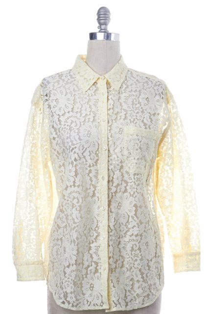 EQUIPMENT Light Yellow Long Sleeve Lace Button Down Shirt Top