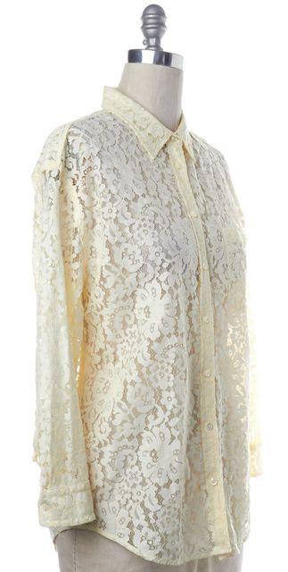 EQUIPMENT Light Yellow Long Sleeve Lace Button Down Shirt Top