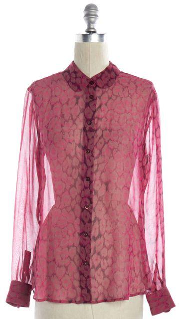 EQUIPMENT Pink Animal Printed Sheer Silk Long Sleeve Button Down Shirt Top