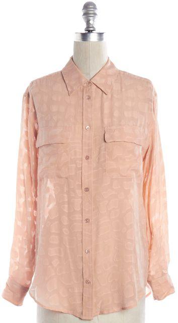 EQUIPMENT Blush Pink Semi Sheer Silk Long Sleeve Button Down Shirt Top