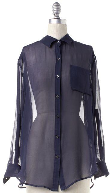 EQUIPMENT Navy Blue Silk Sheer Button Down Shirt Top