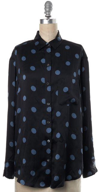 EQUIPMENT Black Blue Polka Dot Silk Button Down Shirt Top