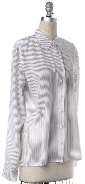 EQUIPMENT Black White Striped Silk Button Down Shirt Top