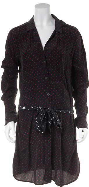 EQUIPMENT Gray Black Red Polka Dot Casual Button Down Belted Shirt Dress
