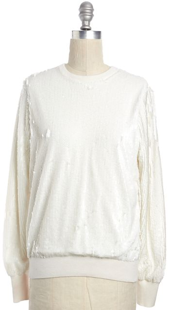 EQUIPMENT White Sequin Embellished Crewneck Sweater
