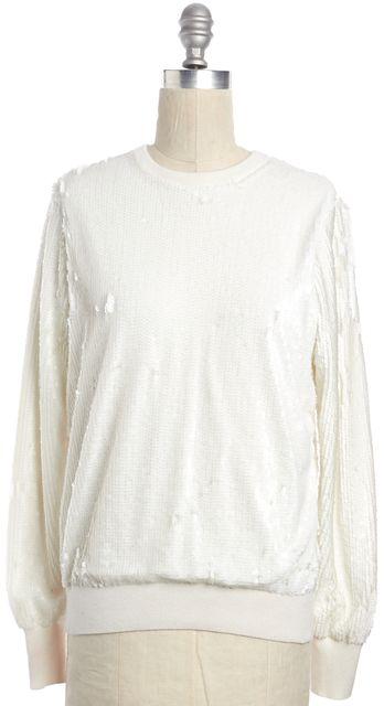 EQUIPMENT White Sequin Embellished Crewneck Sweater
