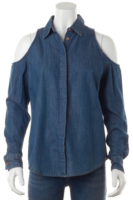 EQUIPMENT Blue Chambray Cut-Out Shoulder Button Down Shirt Top